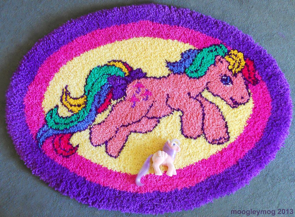 Handmade My Little Pony Rug Featuring Parasol Northstar Shown For Scale Mlp Latch Hook