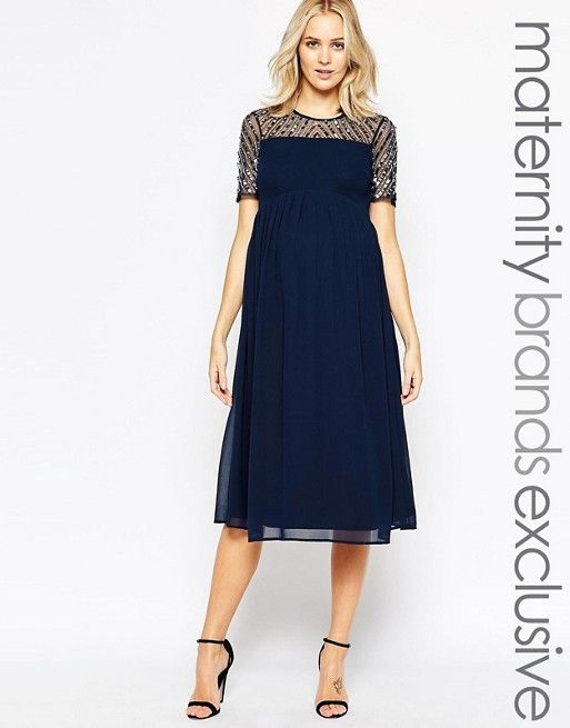 5d515a8be444b navy blue Maya Maternity Midi Dress With Sequin Embellished Top from ASOS