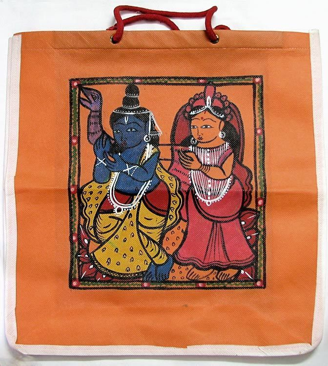 Patachitra on Saffron Shopping Bag (Synthetic)