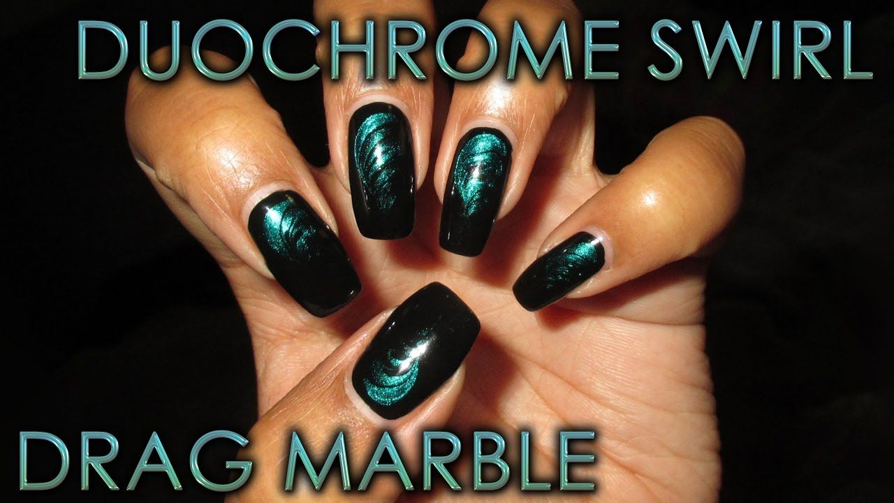 Duochrome Swirl Drag Marble | DIY Nail Art Tutorial - Cool Nails ...