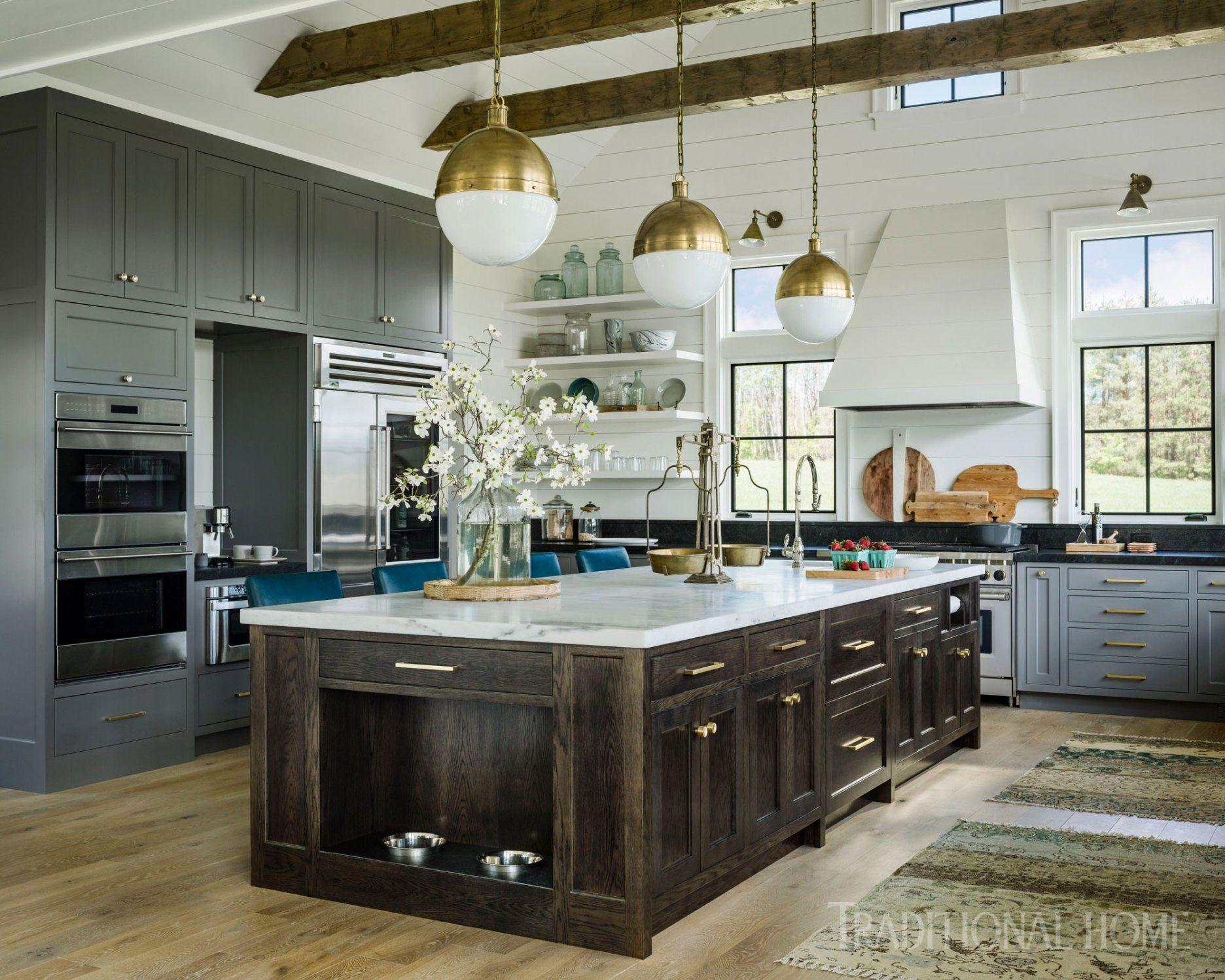 Property Swoon A Vermont Farmhouse Fantasy Linda Merrill In 2020 Grey Kitchen Designs Farmhouse Style Kitchen Modern Grey Kitchen