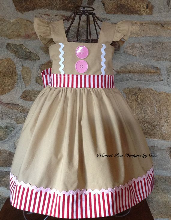 b18de82fc4d9a Items similar to Girls Gingerbread dress, girls Christmas dress, Holiday  dress, twirl dress,baby gingerbread dress, red stripe dress, toddler dress,  on Etsy