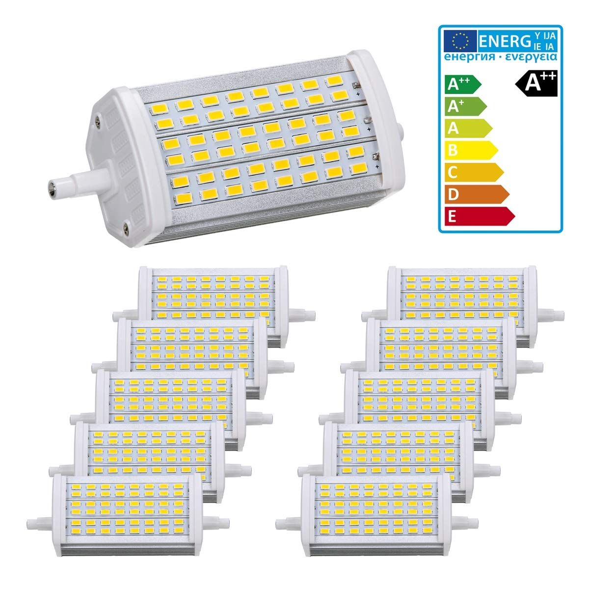 Led R7s Dimmbar Ecd Germany 10er Pack R7s Led Leuchtmittel 15w - 118mm - 800 Lumen - Smd5730 - Ac 220-240v - 180� Abstrahlwinkel - Ersetzt 90w Halogenbirne - Neutralwei� - Nich…