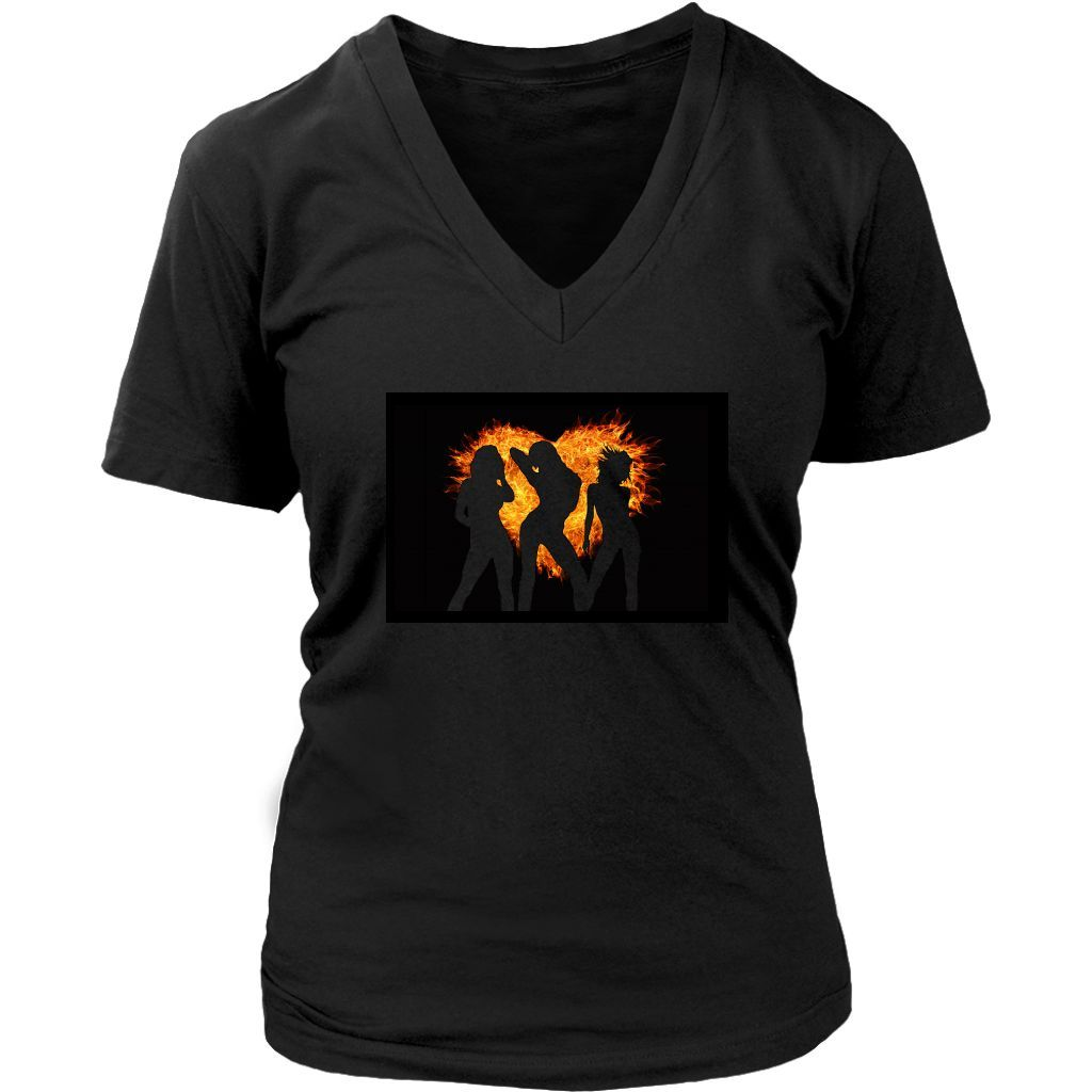 Women's V-Neck Shirt (Hearts of Fire Design) (7 colors and 7 sizes available!)