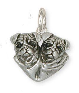 Pug Pendant Jewelry Sterling Silver Handmade Dog Pendant PG28-P