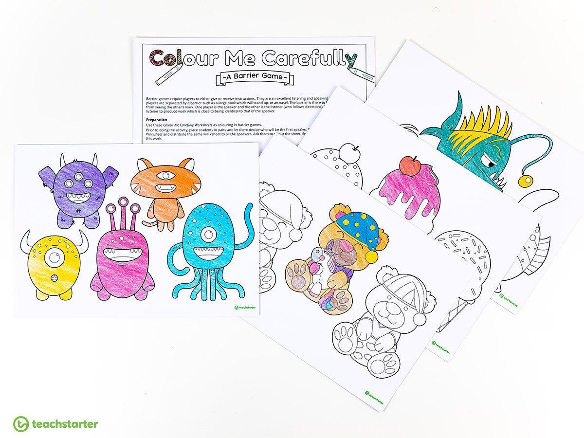 Colour Me Carefully Worksheets Teaching Resource