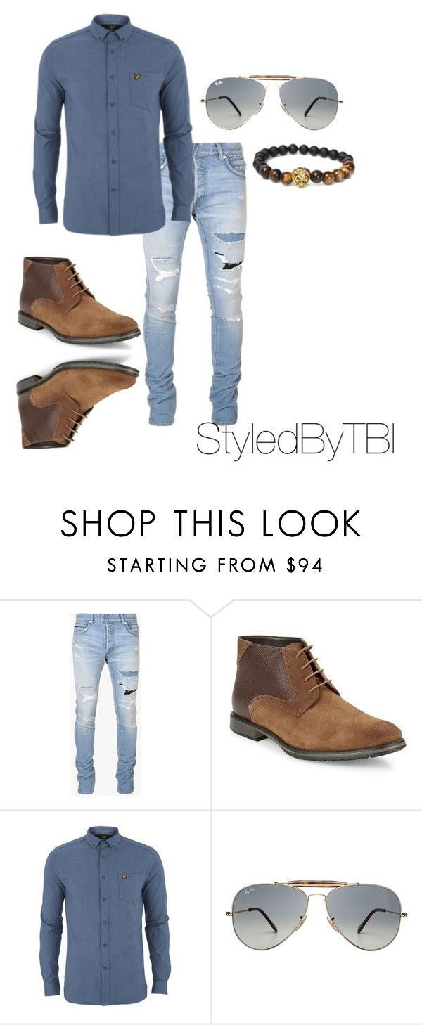 """""""Untitled #45"""" by styledbytbi on Polyvore featuring Balmain, BLACK BROWN 1826, Lyle & Scott, Ray-Ban, mens, men, men's wear, mens wear, male and mens clothing"""