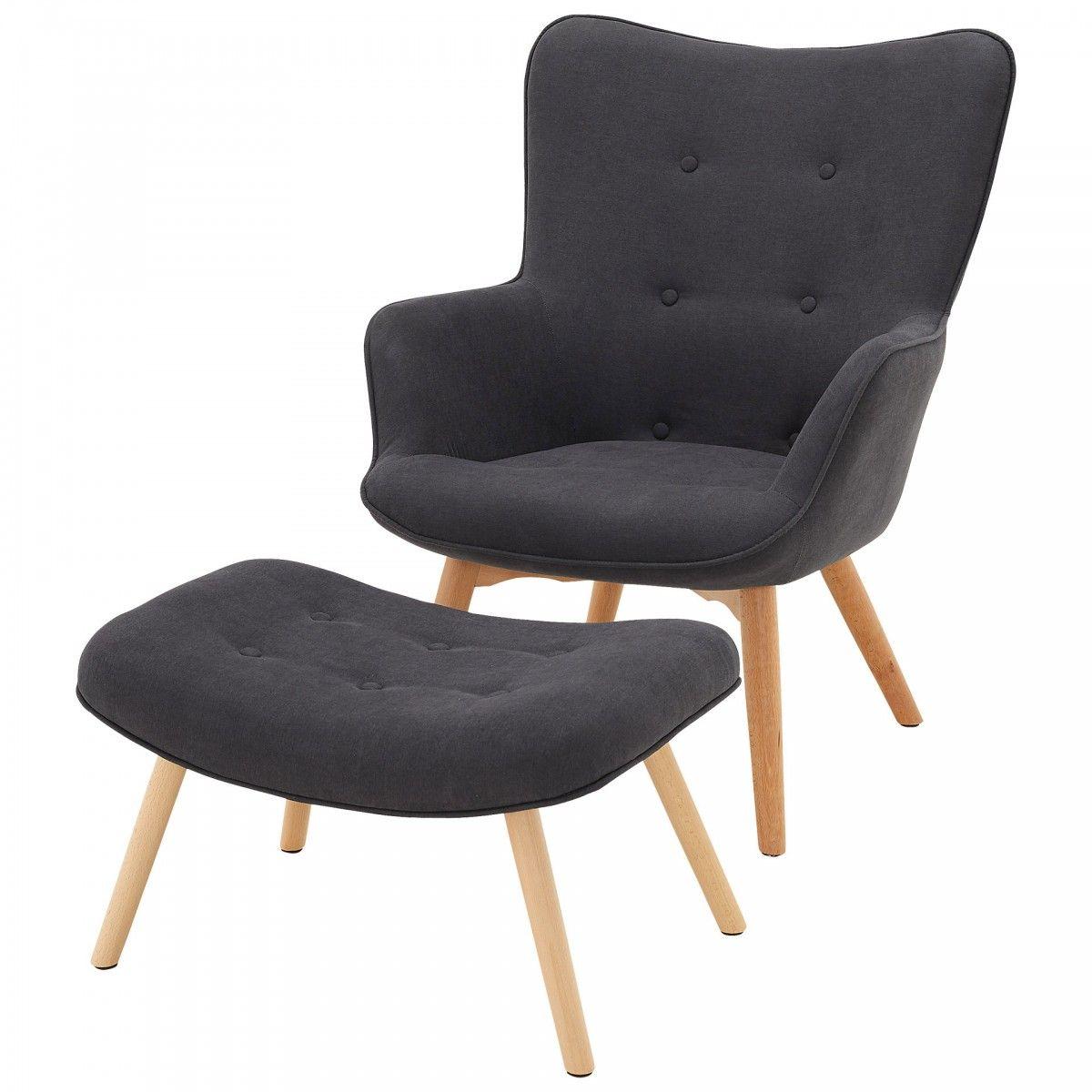 Tolles Set Sessel Und Hocker Trendiger Retro Stil In Dunkelgrau Zurucklehnen Und Fusse Hochlegen Sessel Hocker Retro Stil