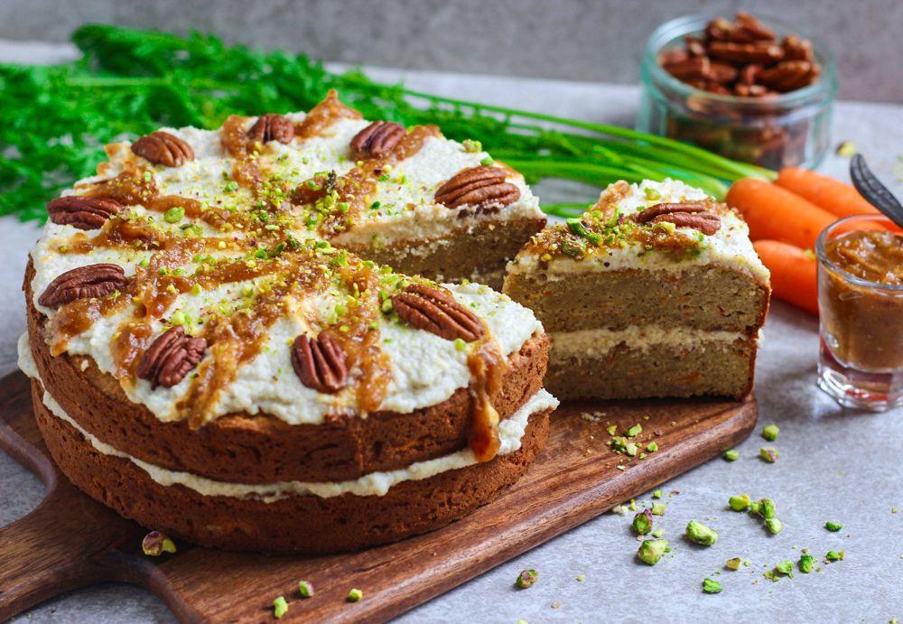 Caramel pecan carrot cake vegan gluten free refined