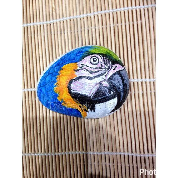 Macaw Parrot painted on a pebble by TheDandyArtist on Etsy