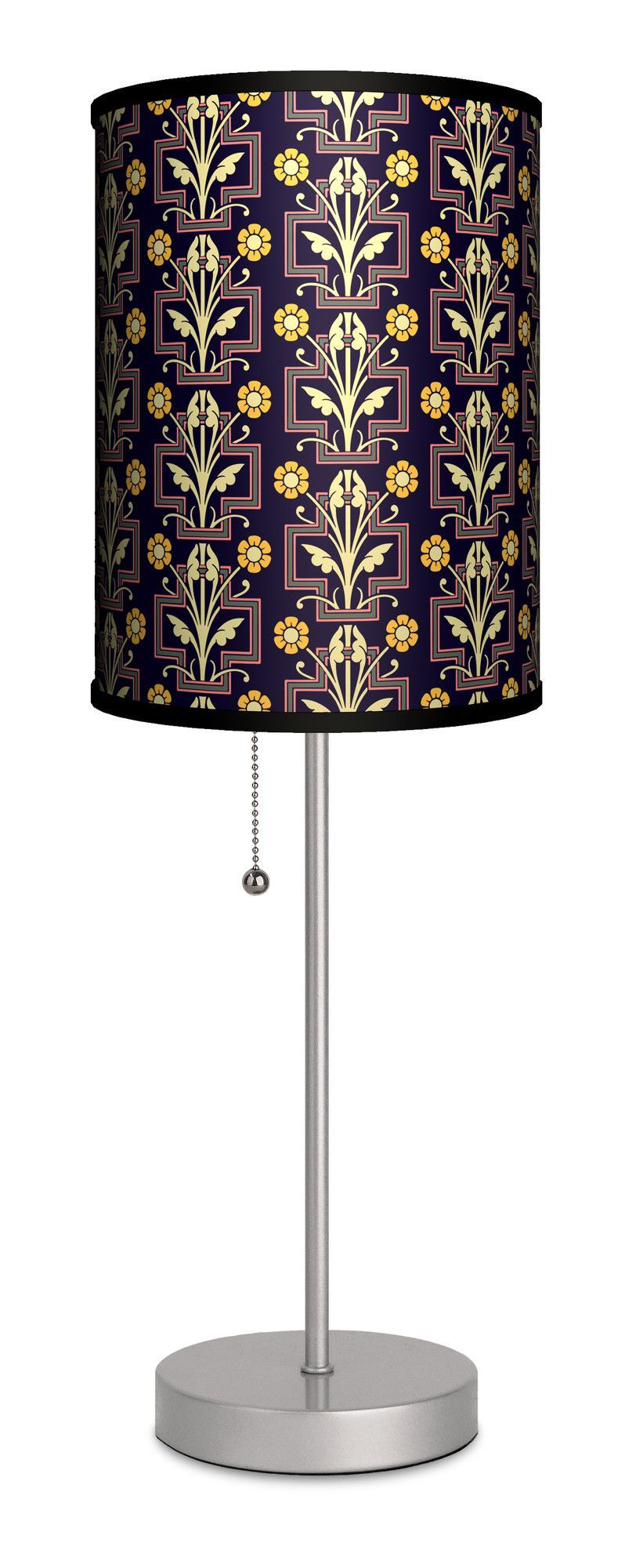 """Decor Art Floral Ornament 20"""" H Table Lamp with Drum Shade"""