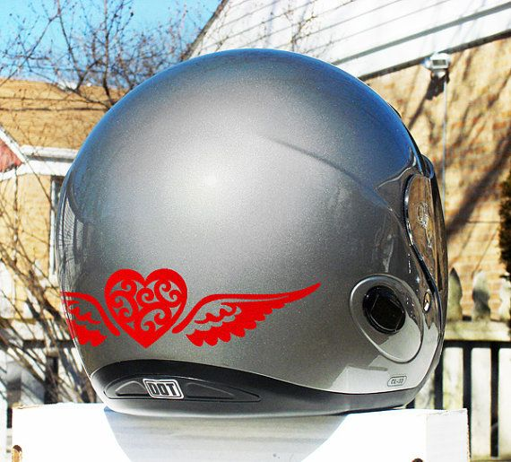 Tribal Heart With Wings Reflective Decal Set Heart With Wings - Motorcycle helmet decals kits