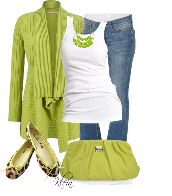 Lime Green Cardigan by stacy-klein on Polyvore Could switch it ...