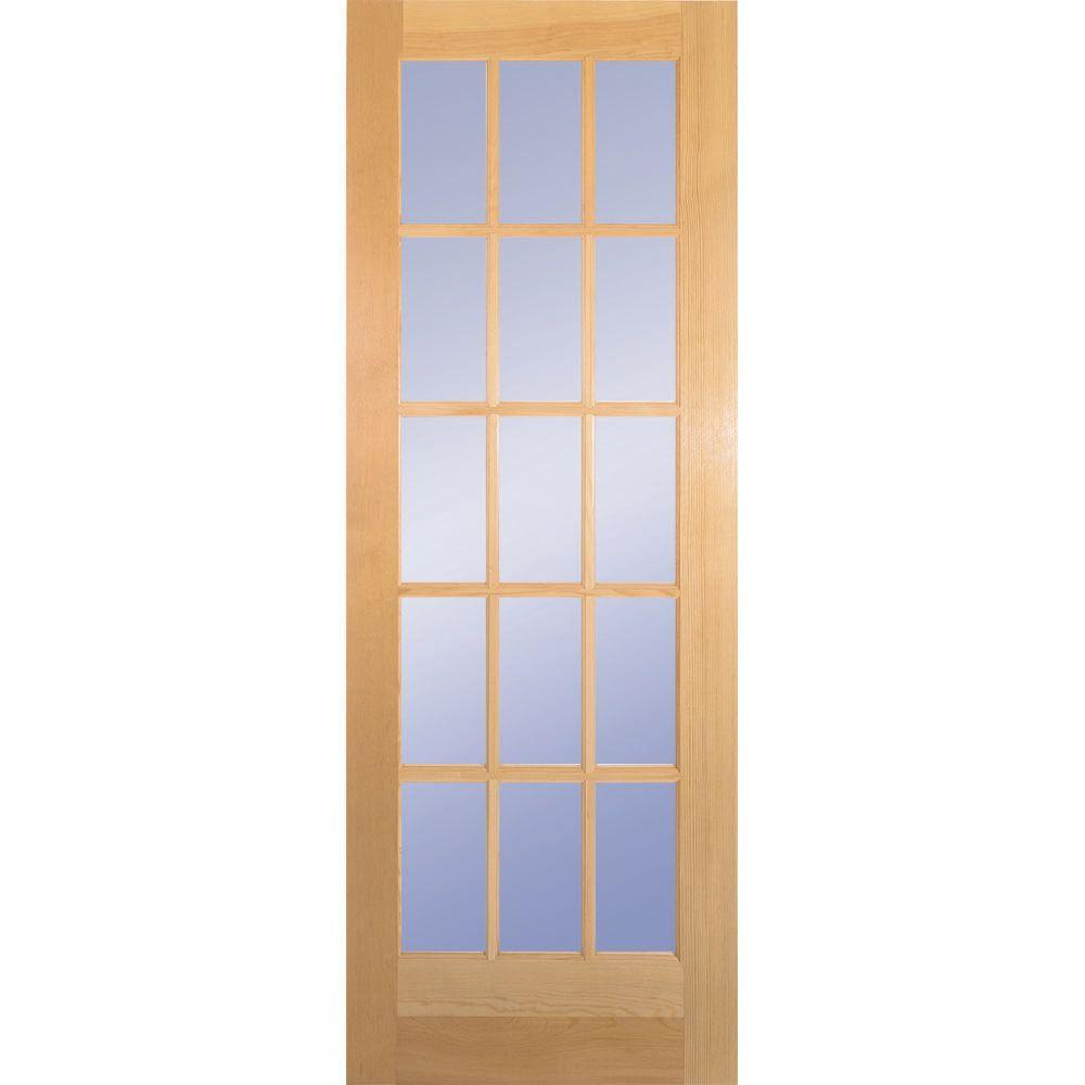 Builders Choice 30 In X 80 In 30 In Clear Pine Wood 15 Lite French Interior Door Slab Hdcp151526 The Home Depot Glass Doors Interior Wood Doors Interior French Doors Interior