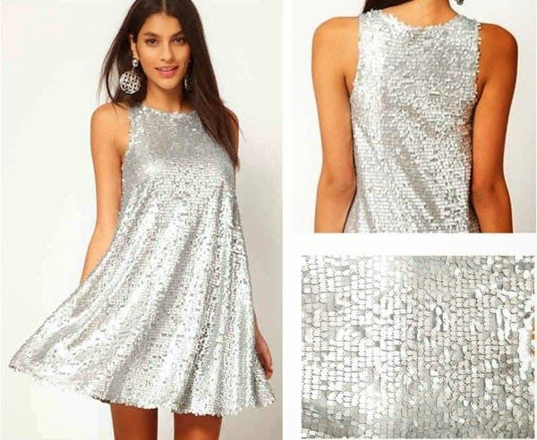 Silver Plain Sequin Sleeveless Above Knee Polyester Dress