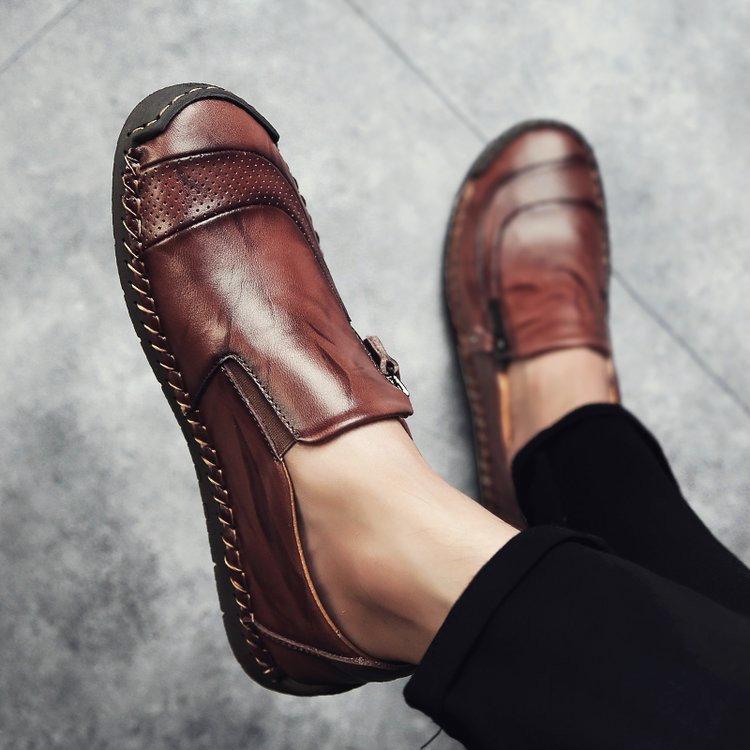 7e96af013ec Menico Menico Men Hand Stitching Zipper Slip-ons Leather Shoes - NewChic  Mobile Mens Vans