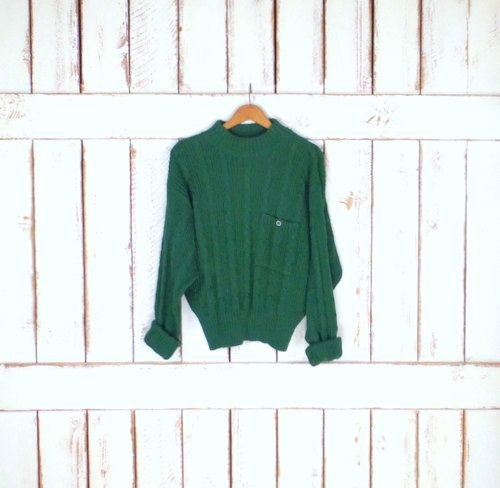 Liz Sport green chunky cotton cableknit pullover ribbed sweater/mock turtleneck…