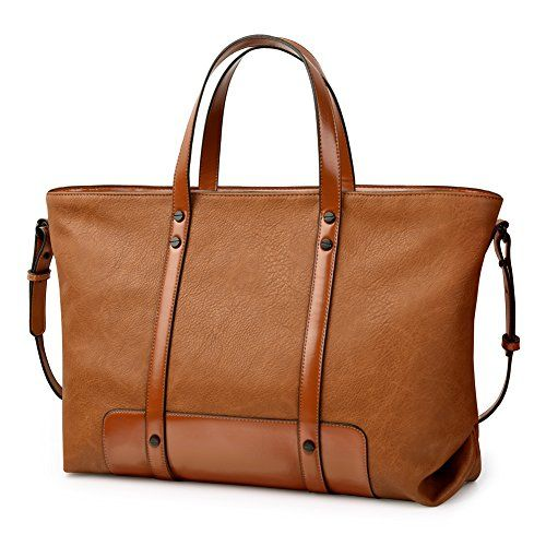 Vbiger Tote Bag Leather Handbags Shoulder Cross-body Bags Large Capacity for Women (Brown) $53.98