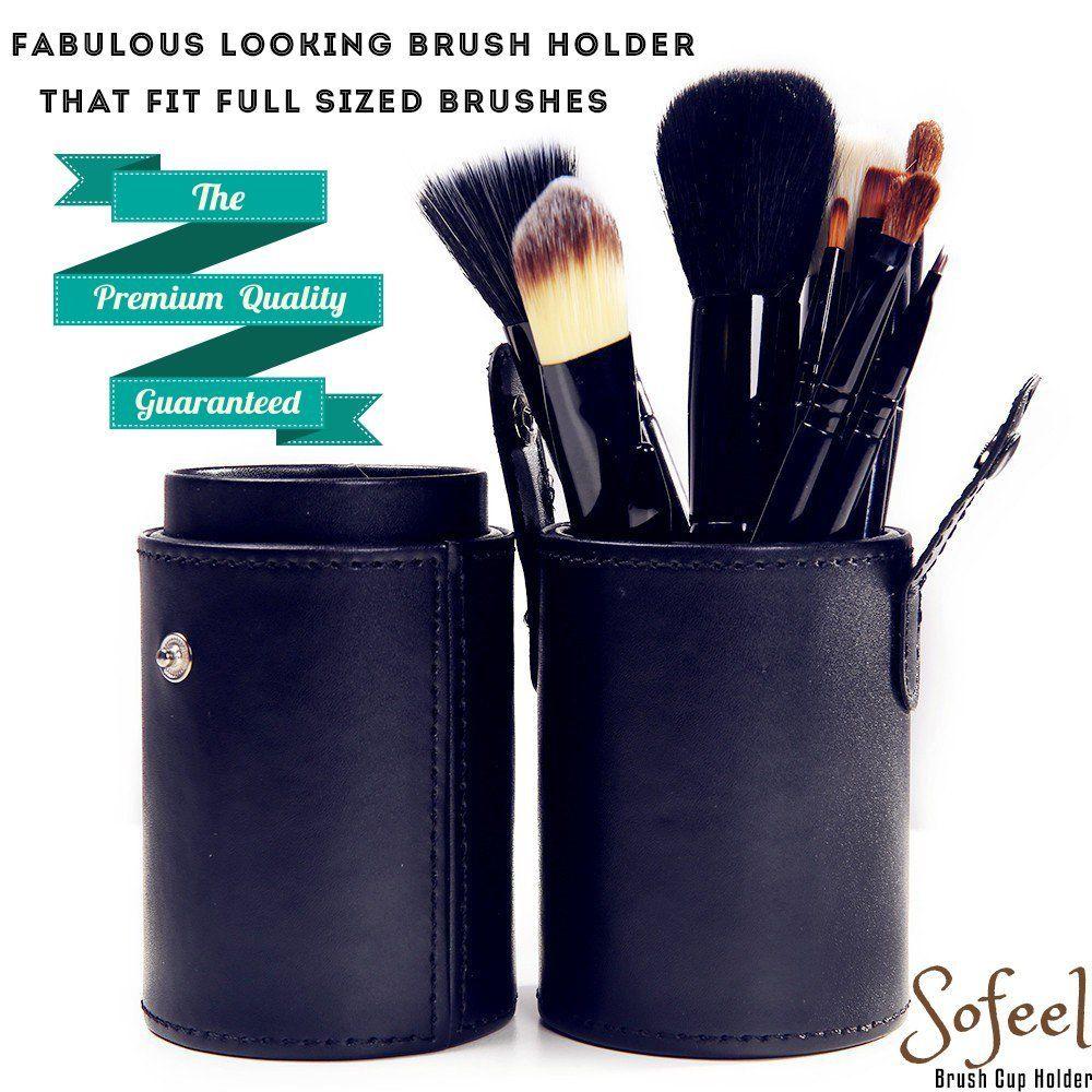 So Feel Brush Cup Holder Leather Makeup Holder Case, Large