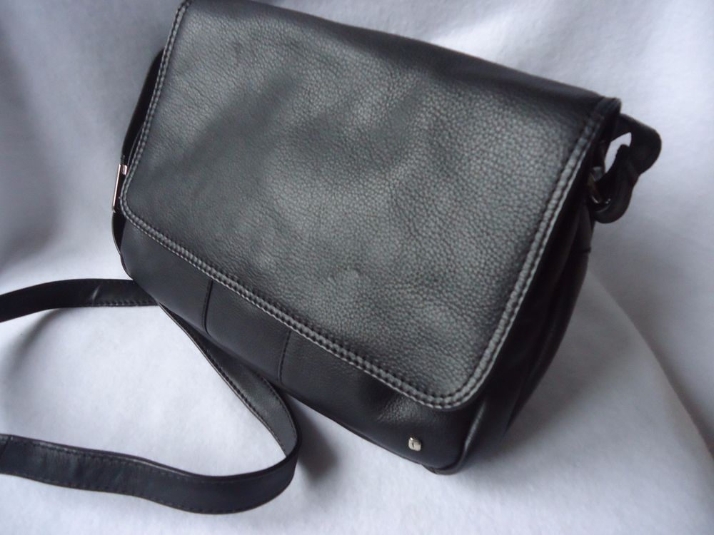 589ca12f78cd Womens Black Leather Tula Flapover Organizer Shoulder Crossbody Handbag Bag