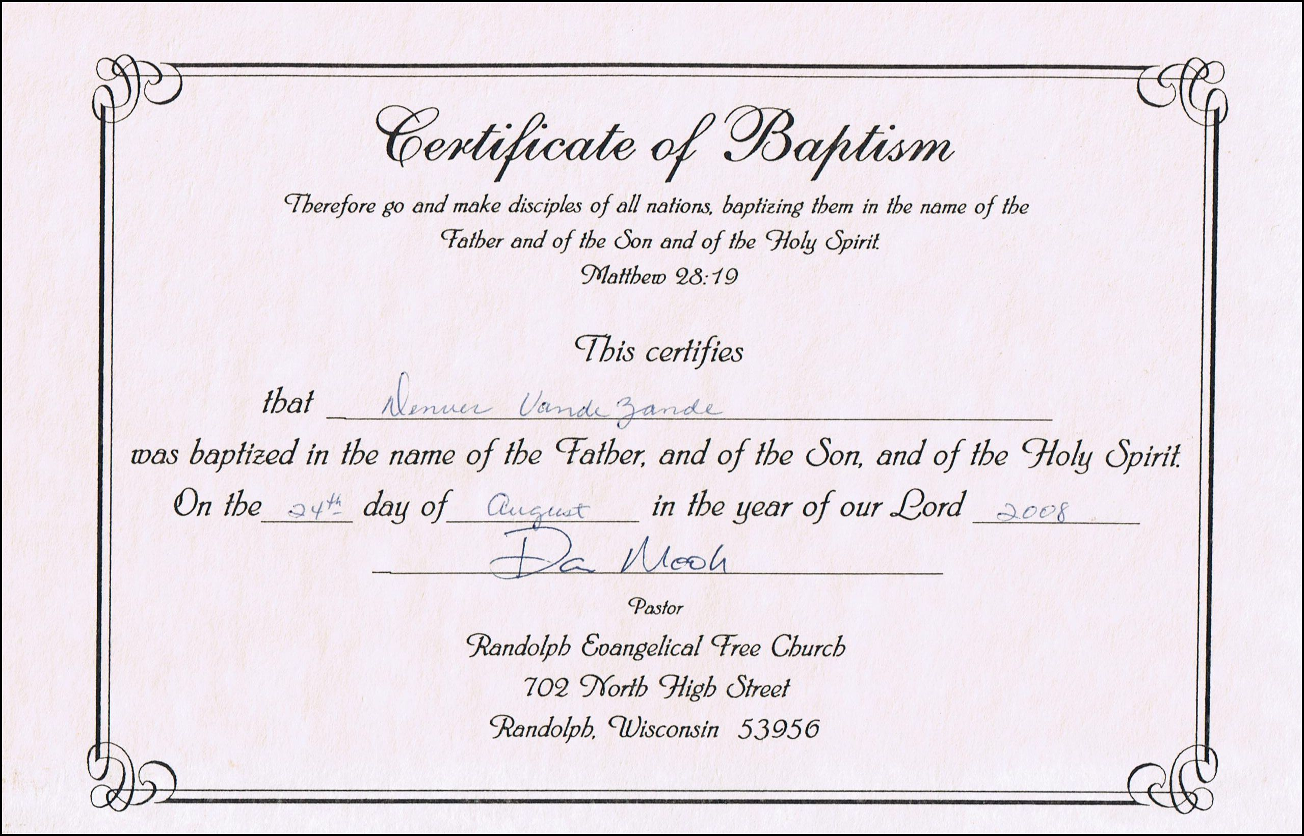 Baptism certificate templates for word aspects of beauty for Free water baptism certificate template