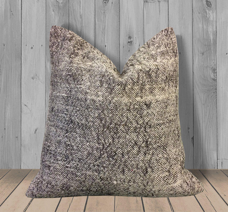 Black White Handwoven Kilim Pillow Cover -20x20 -Rustic Throw Pillow Cushion -Farmhouse Decor Black