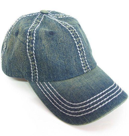 Light Worn Denim Olive & Pique Baseball Hat