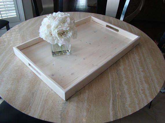 Whitelwashed Rustic Ottoman Tray White Wooden Serving