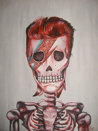 David Bowie Sugar Skull Painting Dia De Los Muertos Day Of The Dead Art