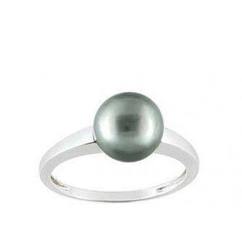 Bague Perle Noir/Tahiti Or Blanc
