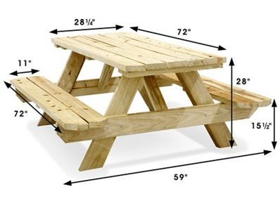 Economy A Frame Wooden Picnic Table 6 H 2999 Uline In