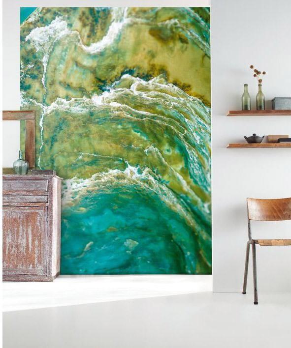Papier peint intissé panoramique Material jade vert