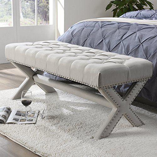 Inspired Home Louis Linen Button Tufted Silver Nail Head Trim X-Leg ...