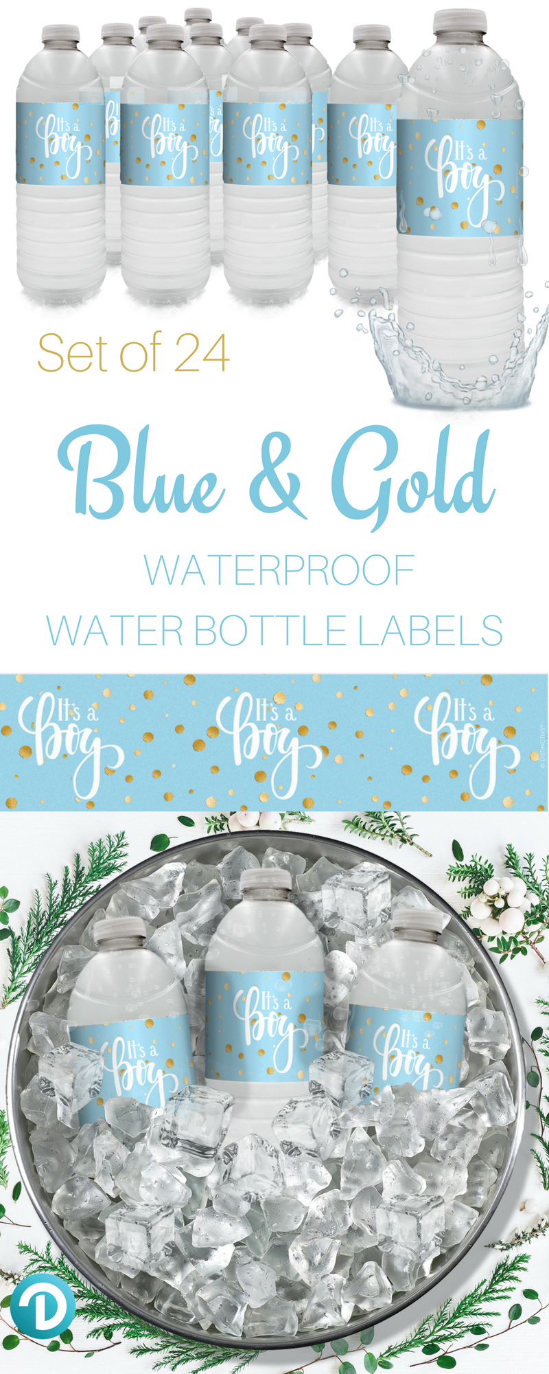 Blue and Gold It\'s a Boy Baby Shower Water Bottle Labels - 24 Count ...