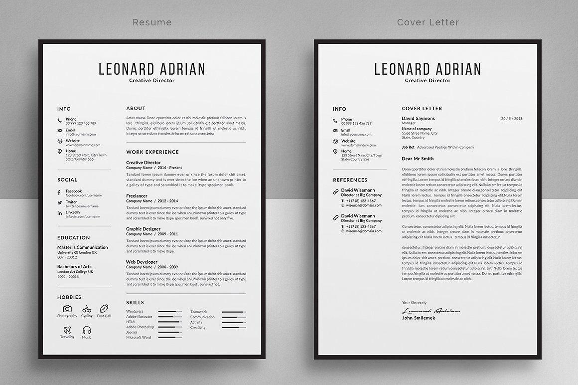Resume/CV by Designsbird on creativemarket Cover letter