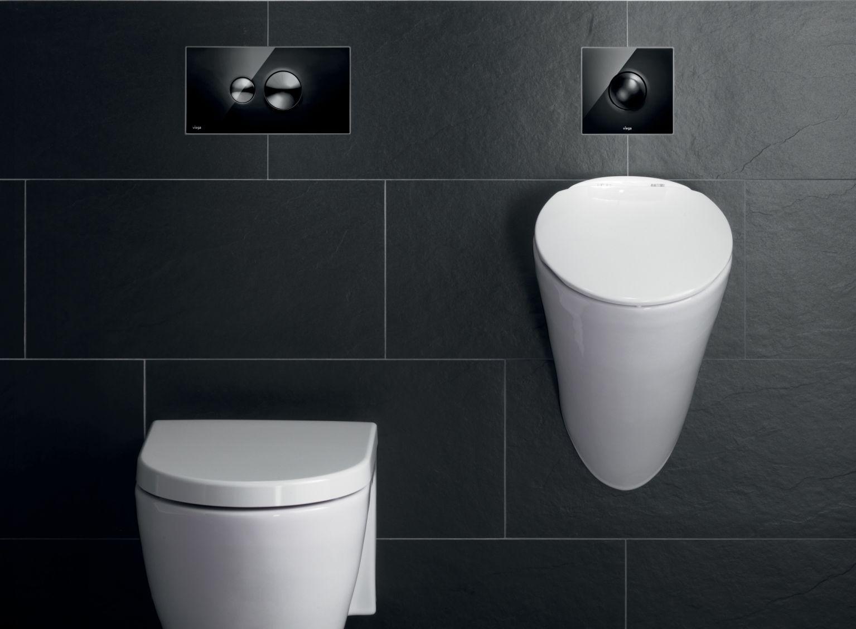 Stijlvolle zwarte design bedieningsplaat voor wc en urinoir