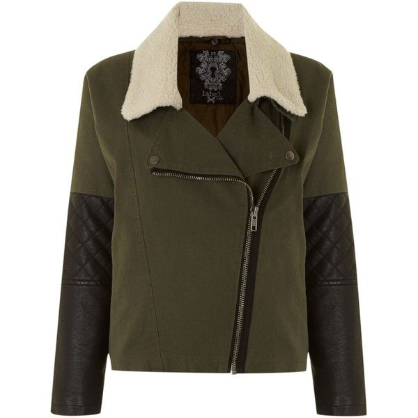 Label Lab Shearling collar biker style jacket found on Polyvore