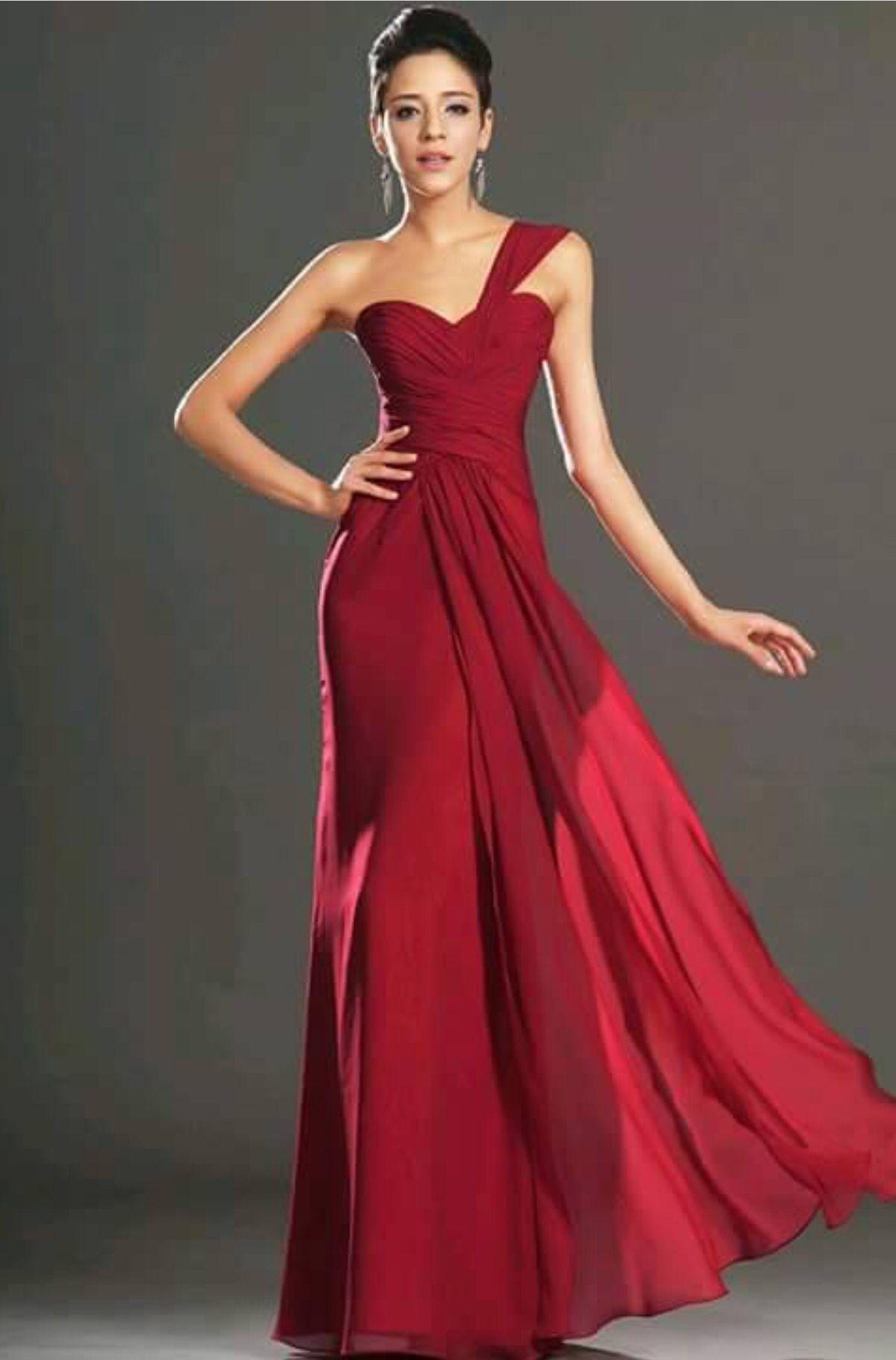 Vestido largo tono rojo quemado | Maid of honor | Pinterest | Maids ...