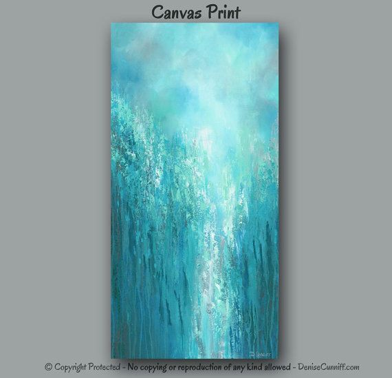 Extra large wall art, Teal abstract, Turquoise home decor ...