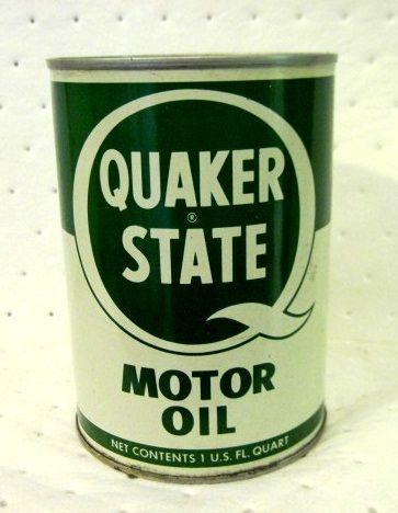 Vintage Quaker State Motor Oil 1 FULL Quart Metal Can