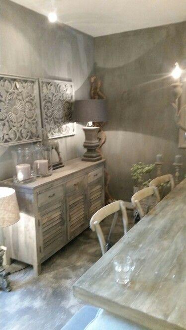 Vergrijsd dressoir dressoir ideeen pinterest dressoir decoratie en landelijk wonen - Rustieke eetkamer decoratie ...