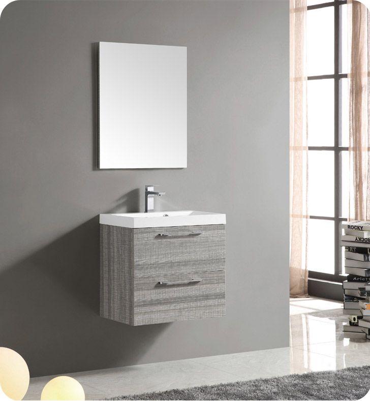 Fresca FVNMA Wall Mount Matte Modern Bathroom Vanity With - 24 contemporary bathroom vanity