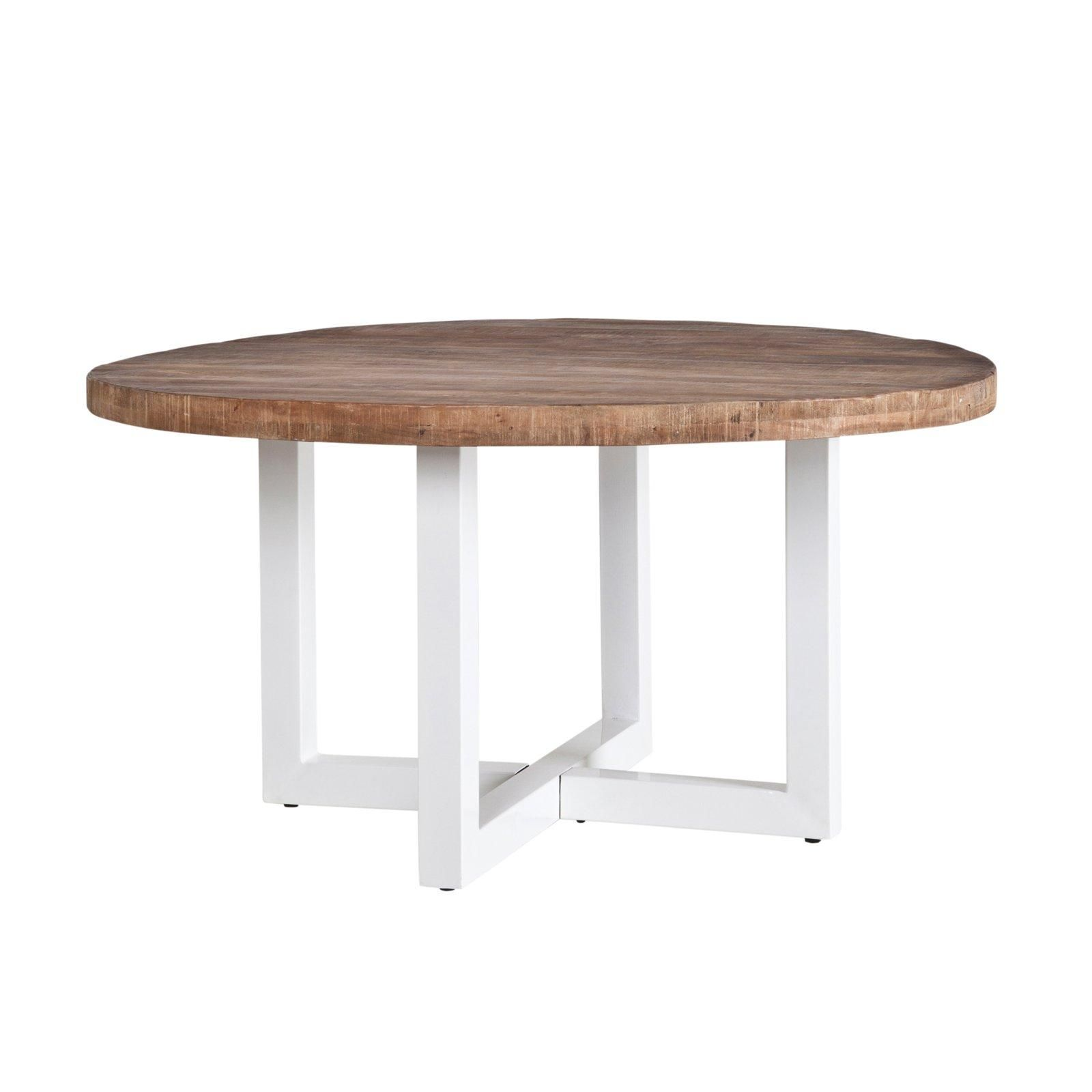 Esstisch Harbor Rund Mit Weissem Tischgestell Und Massiver Platte