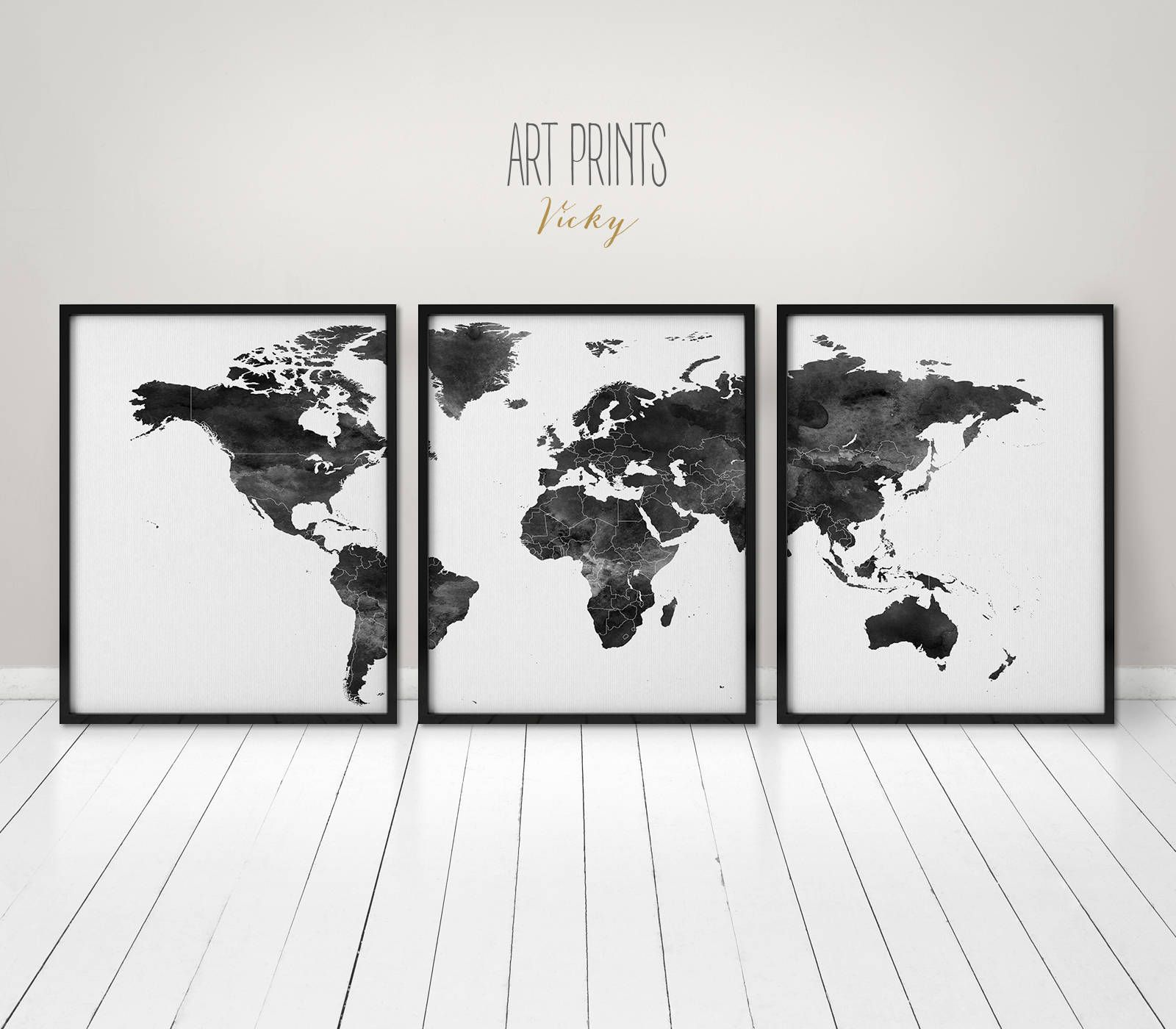 World Map Poster 3 Pieces World Map Print Black And White Wall Art Art Print Office Wall Art Travel Gift Ho World Map Wall Art Map Wall Art World Map Art