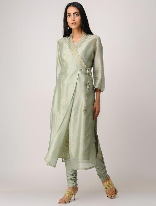 Green Block-printed Zari Emroidered Chanderi Angrakha Kurta with Slip (Set  of 2) 0c39ce6bb