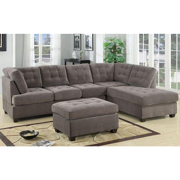 Modern Microfiber Sectional Sofa: 3 Piece Modern Large Tufted Grey Microfiber Sectional Sofa
