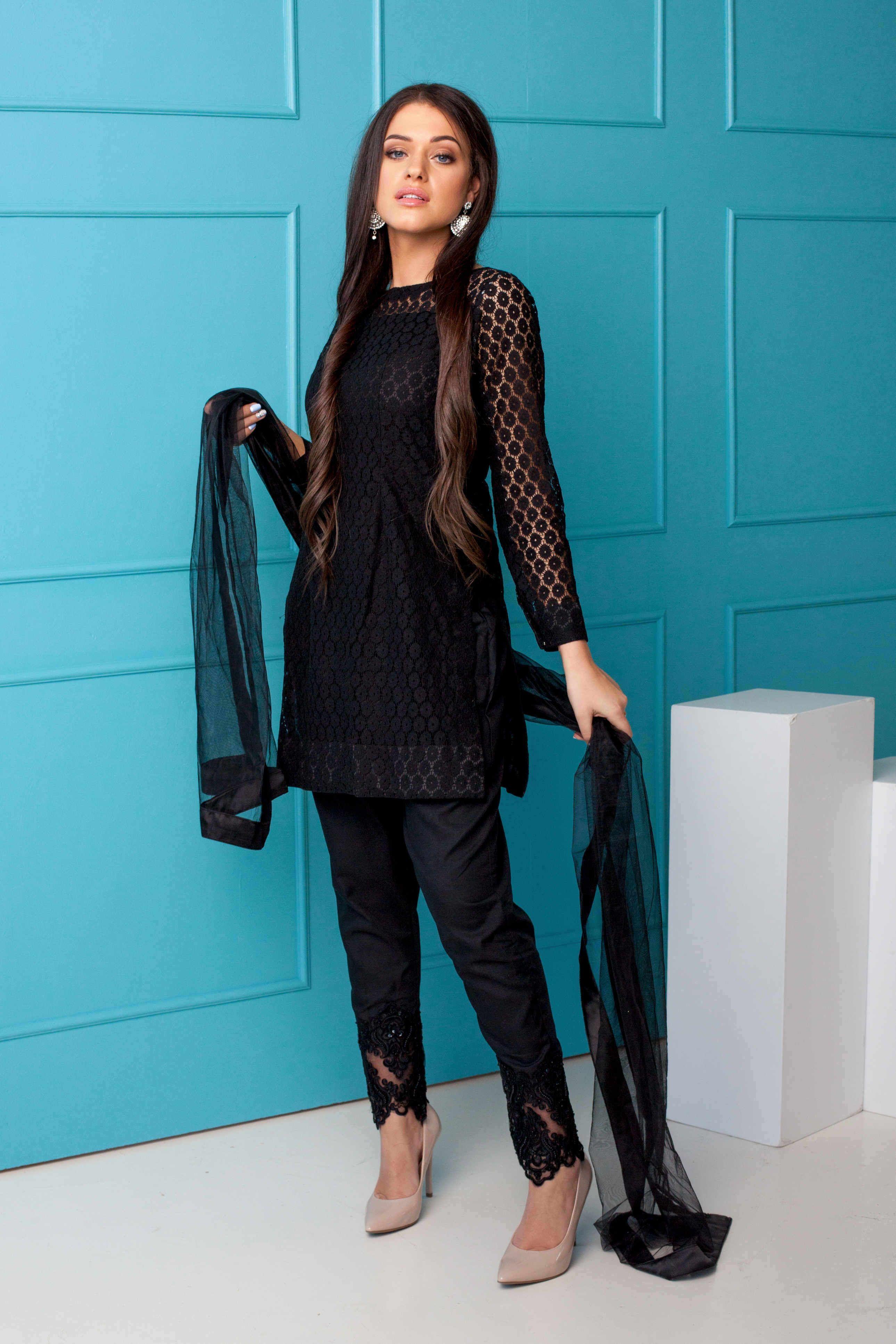 Royal Black Pakistani Fashion Casual Black Pakistani Dress Indian Fashion Modern [ 3868 x 2579 Pixel ]