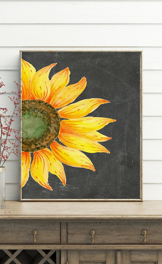 Sunflower Decor, printable wall art, sunflower print, french country ...