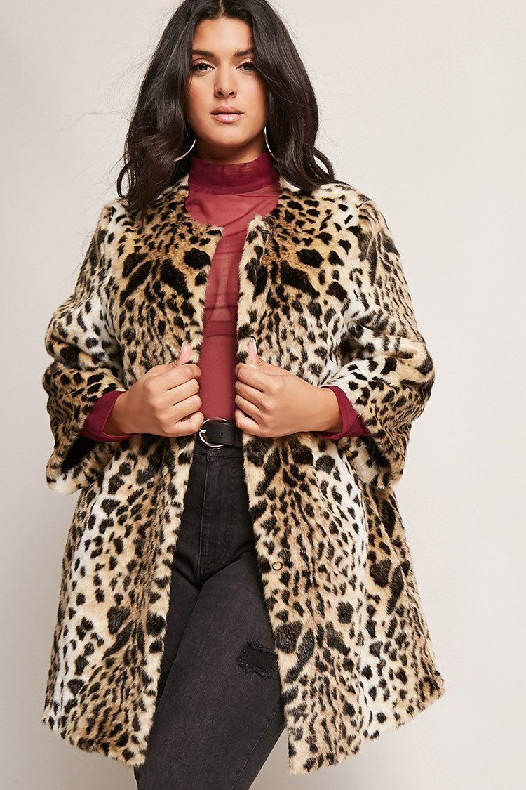 6374554861 Product Name:Plus Size SHACI Leopard Faux Fur Coat,  Category:CLEARANCE_ZERO, Price:125