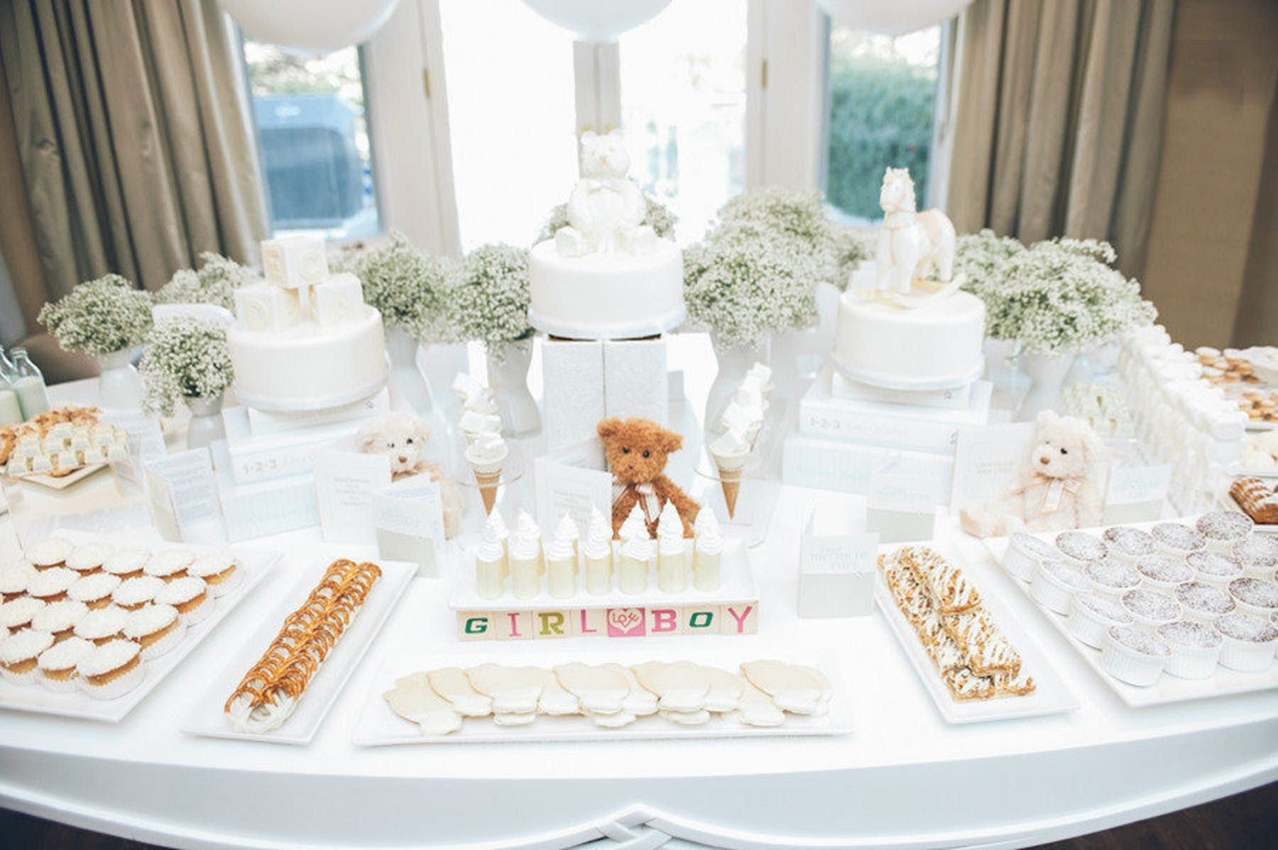 White Themed Baby Shower Very Timeless Style Me Pretty #Babyshower
